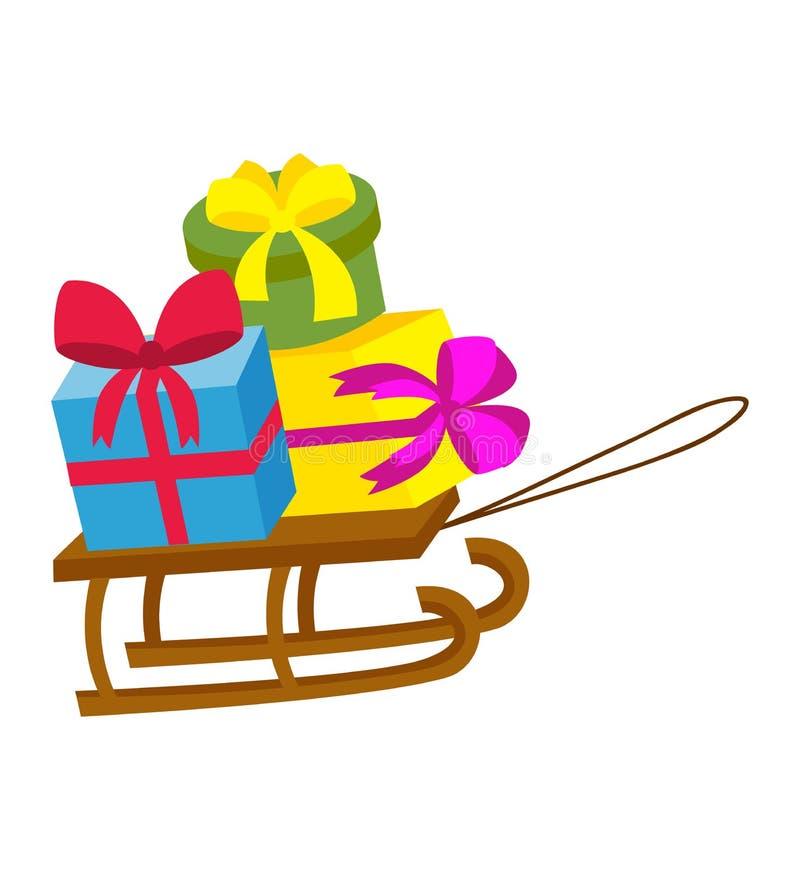 Ejemplo del vector del regalo del trineo libre illustration