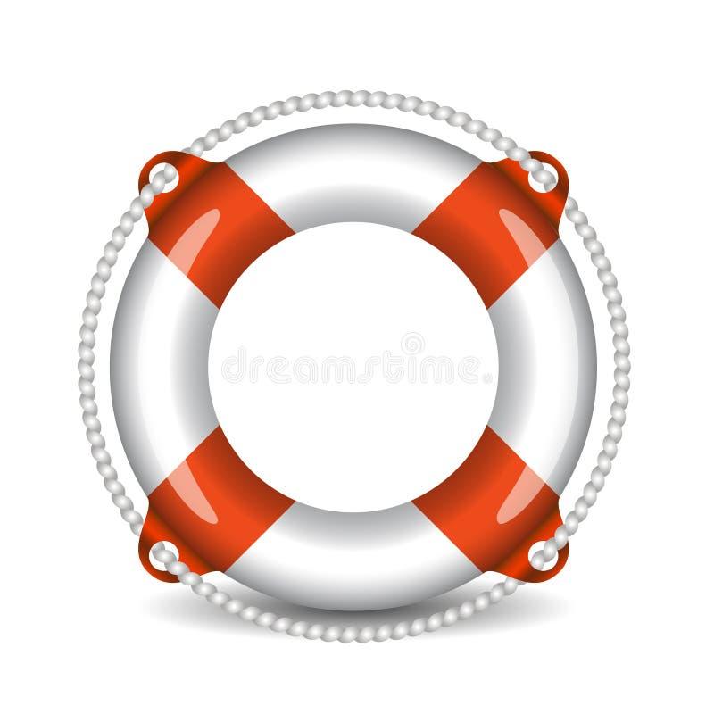 Ejemplo del vector del salvavidas aislado en el fondo blanco stock de ilustración