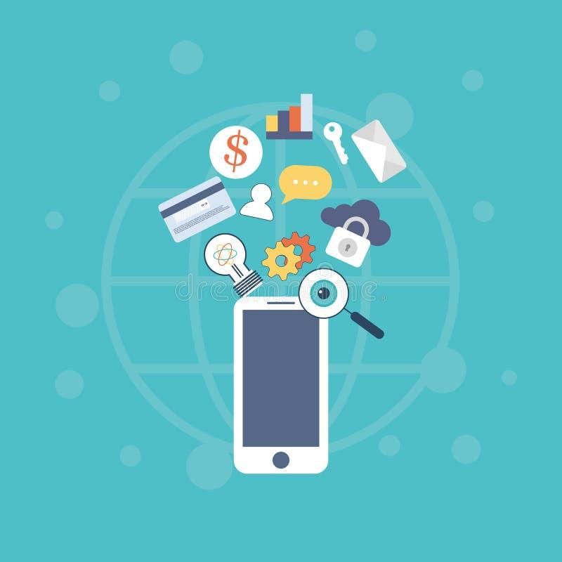 Ejemplo del vector del sistema de los iconos de capacidades móviles de la tecnología y de Internet stock de ilustración