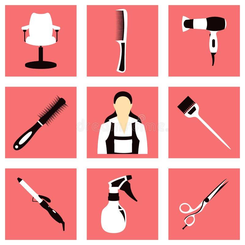 Ejemplo del vector del sistema del peluquero y del equipo libre illustration