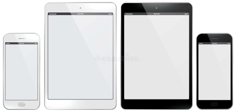 Ejemplo del vector del teléfono móvil y del Tablet PC ilustración del vector
