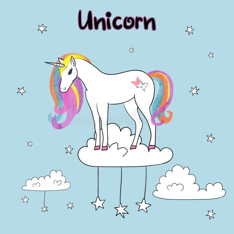 Ejemplo del vector del unicornio del arco iris ilustración del vector