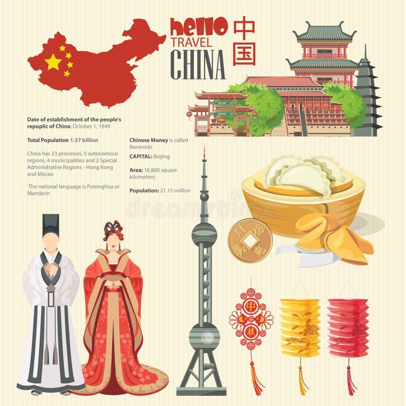 Ejemplo del vector del viaje de China con infographic El chino fijó con la arquitectura, comida, trajes, símbolos tradicionales T stock de ilustración