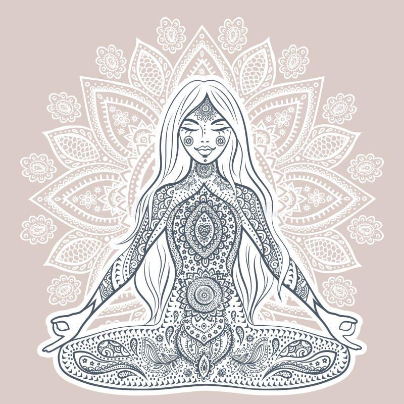 Ejemplo del vector del vintage con la muchacha de la yoga Actitud de la mediación stock de ilustración