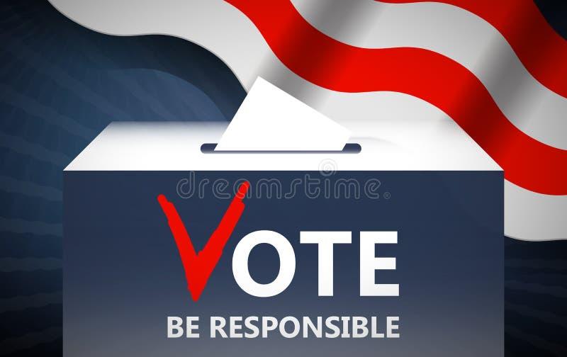 Ejemplo del vector del voto Votación y política Poner la votación en caja Concepto de la elección Haga una imagen bien escogida libre illustration