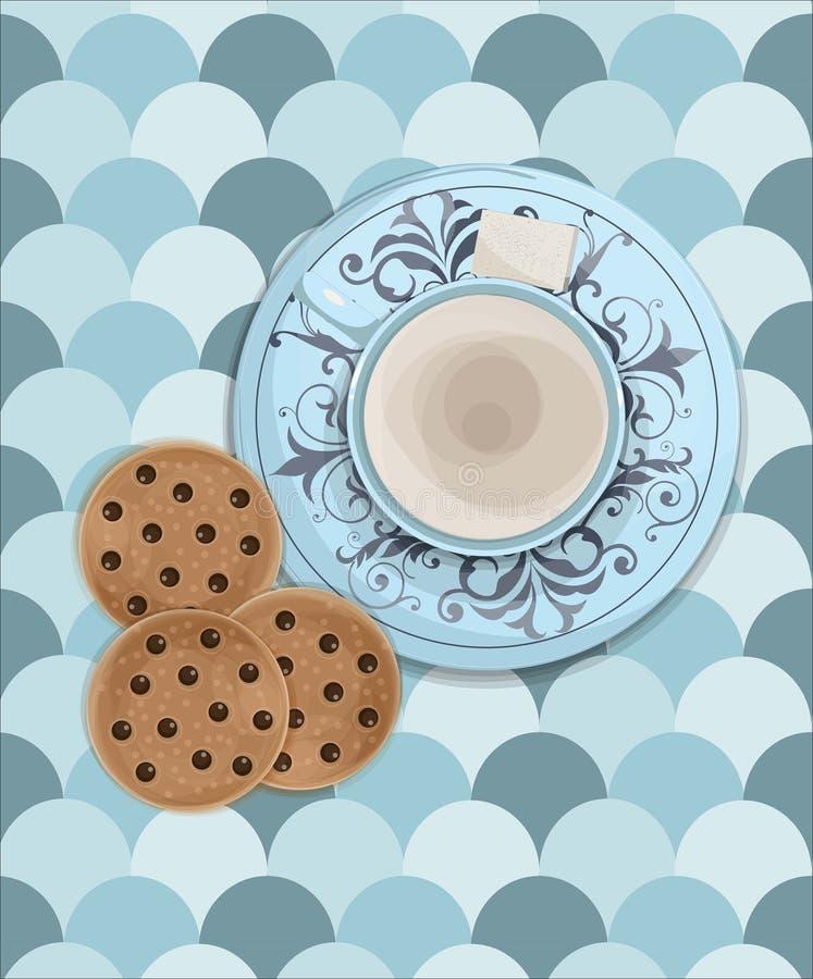Ejemplo del vector del desayuno de la mañana de una taza de café dulce del latte con el plato y azúcar adornado y algunas galleta libre illustration