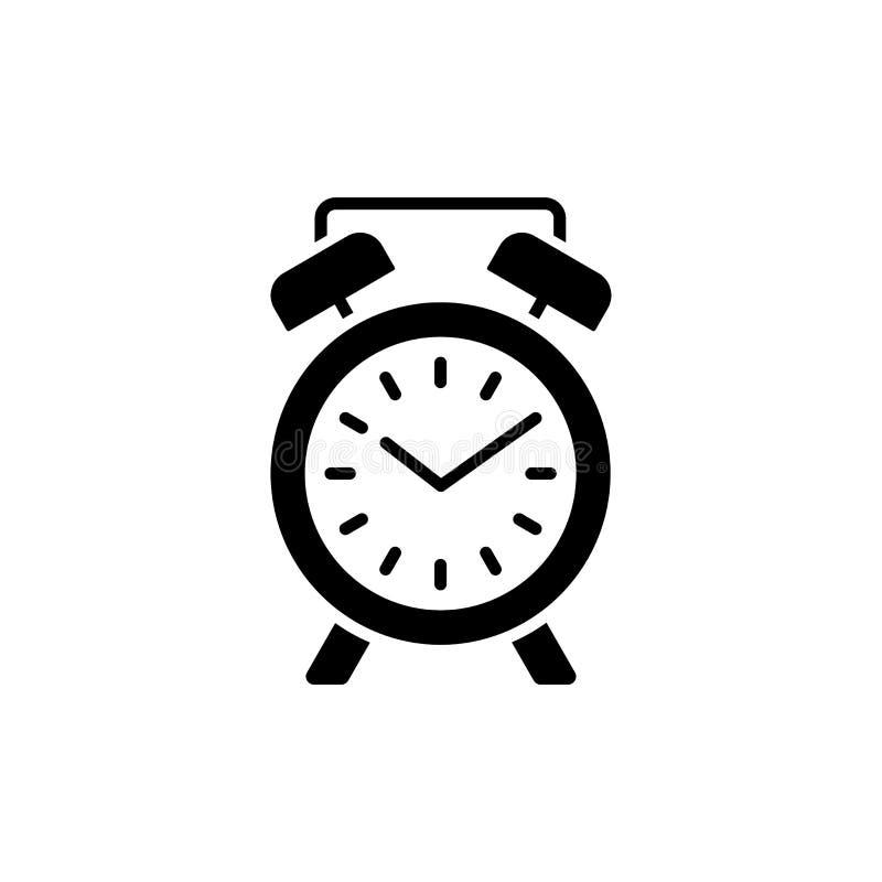 Ejemplo del vector del despertador moderno del escritorio Icono plano de la etiqueta stock de ilustración