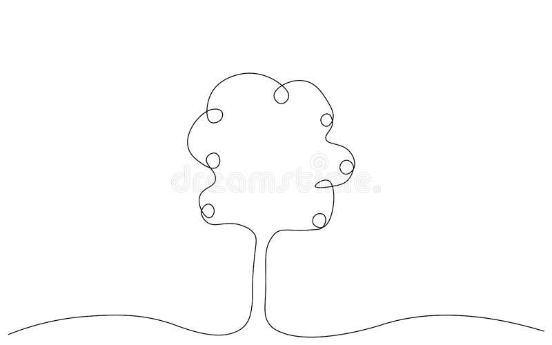 Ejemplo del vector del dibujo lineal del manzano uno libre illustration