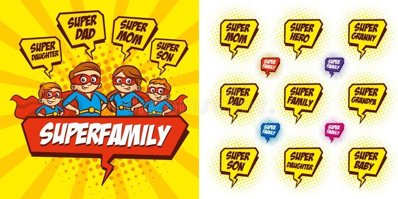 Ejemplo del vector del discurso de la burbuja del personaje de dibujos animados de la familia del super héroe libre illustration
