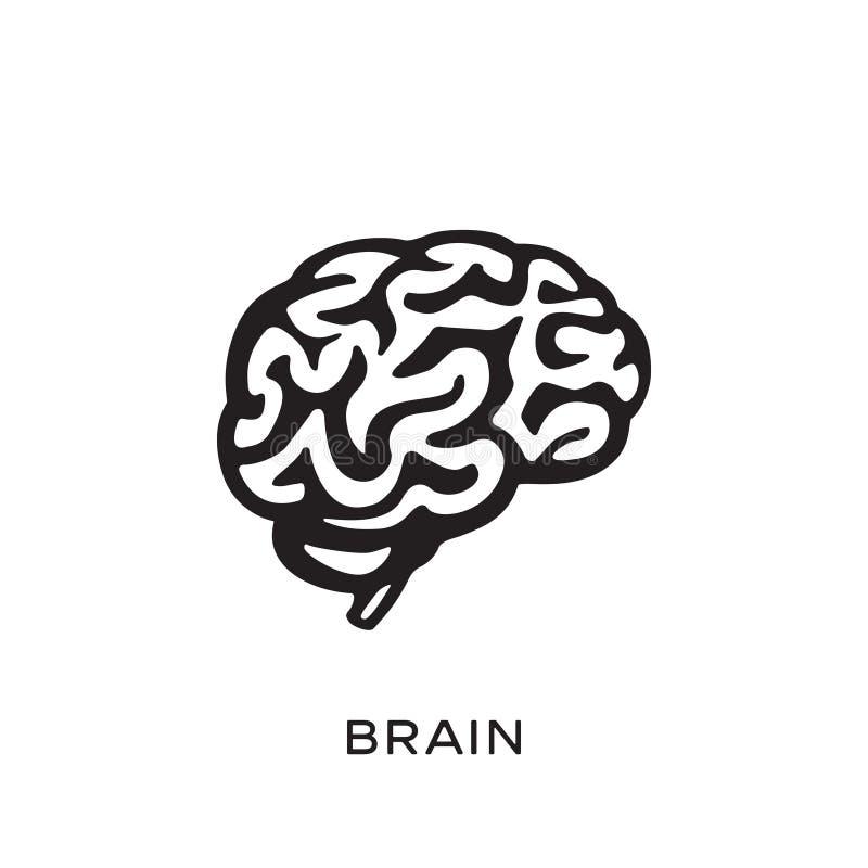 Ejemplo del vector del diseño de la silueta del cerebro humano Piense el concepto de la idea brainstorm libre illustration