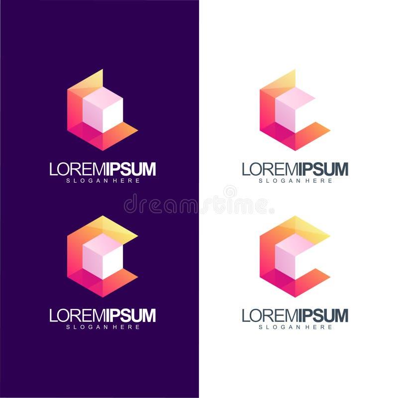 Ejemplo del vector del diseño del logotipo del cubo de la letra C stock de ilustración