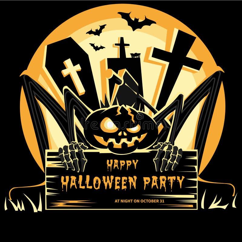 Ejemplo del vector del diseño del partido de Halloween de la cartelera stock de ilustración