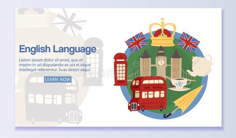 Ejemplo del vector del diseño web de la bandera de la lengua inglesa Aprendiendo el idioma extranjero en línea vía Internet descu libre illustration