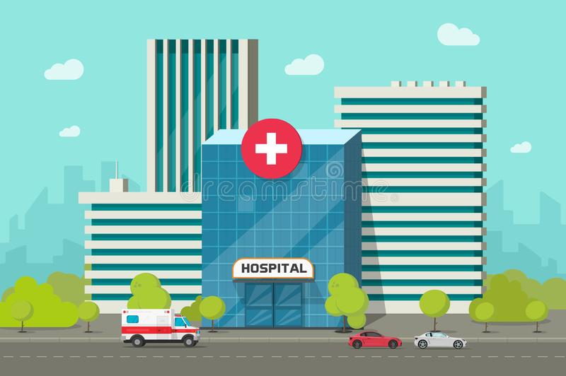 Ejemplo del vector del edificio del hospital, centro médico moderno o clínica de la historieta plana en clipart de la calle de la stock de ilustración