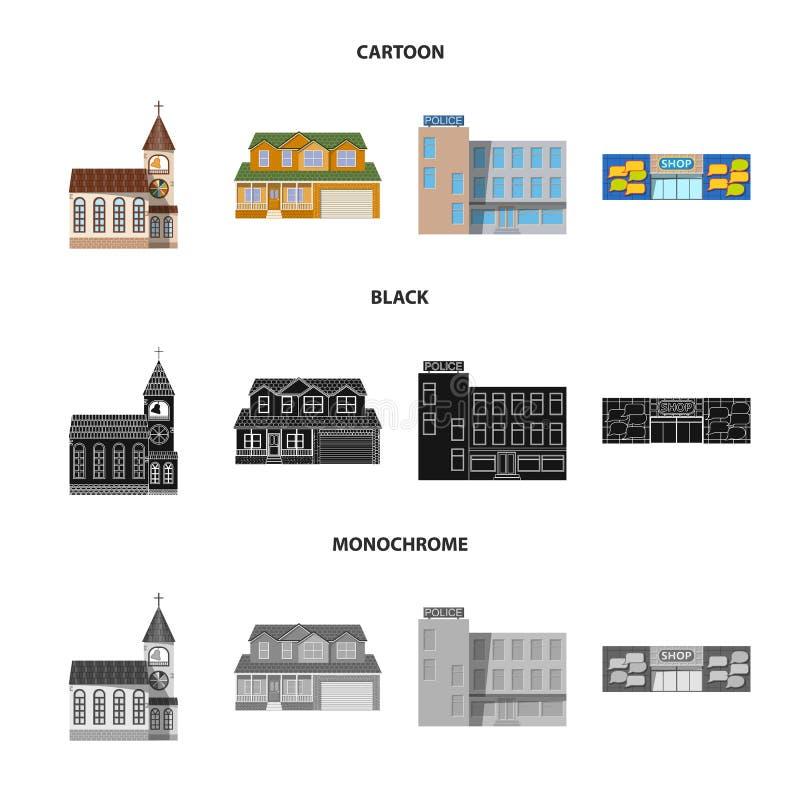 Ejemplo del vector del edificio y del icono delantero Colección de ejemplo común del vector del edificio y del tejado libre illustration