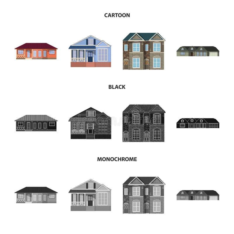 Ejemplo del vector del edificio y del icono delantero Sistema del símbolo común del edificio y del tejado para el web ilustración del vector