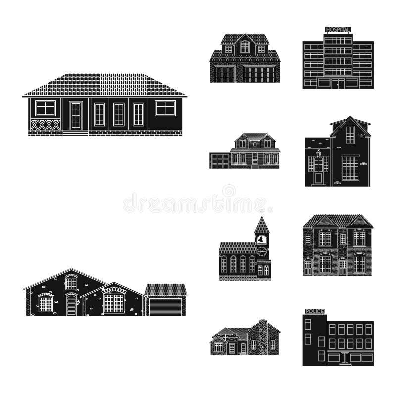 Ejemplo del vector del edificio y del icono delantero Sistema del símbolo común del edificio y del tejado para el web stock de ilustración