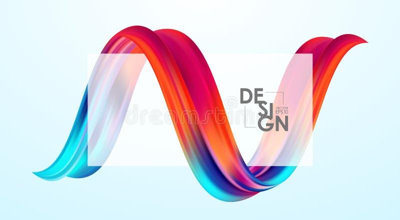 Ejemplo del vector: El fondo en blanco abstracto moderno con 3d torció forma colorida del líquido del flujo Diseño de la pintura  libre illustration