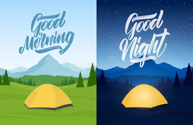 Ejemplo del vector: El sistema de dos montañas ajardina con el campo de la tienda, lettring de la mano de la buena mañana y las b libre illustration