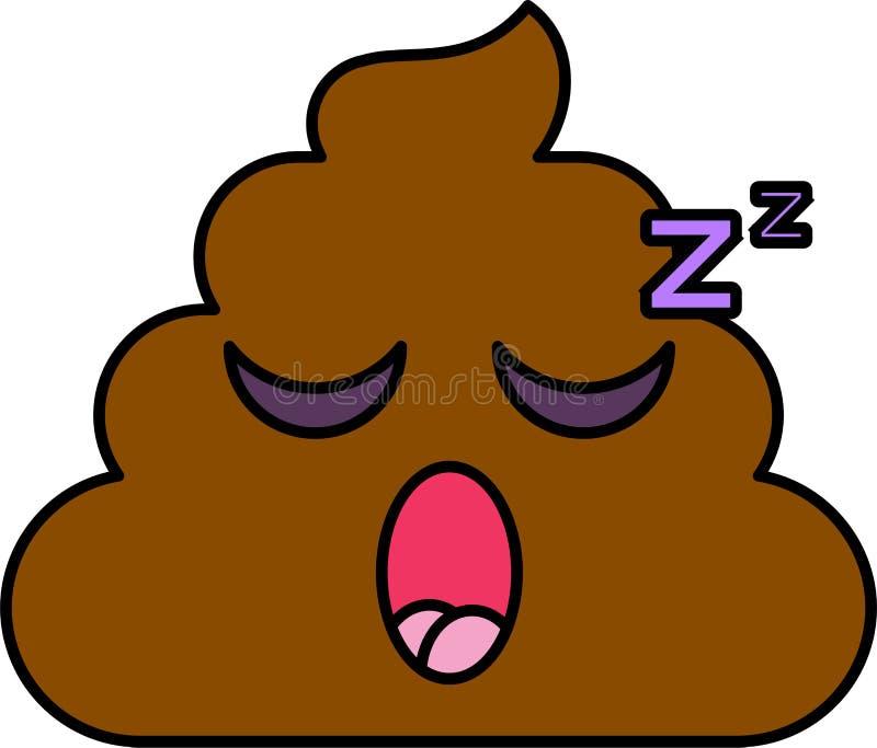 Ejemplo del vector del emoji el dormir stock de ilustración