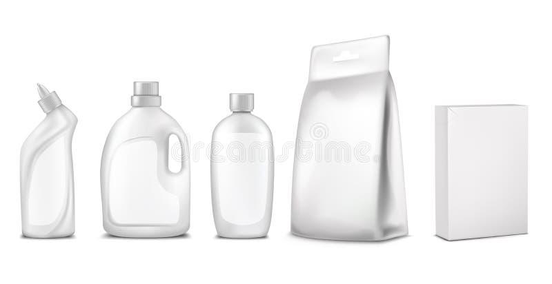 Ejemplo del vector del empaquetado, diseño de paquete Botella, espray, bolsita, caja, envase para los cosméticos, limpiadores, co libre illustration