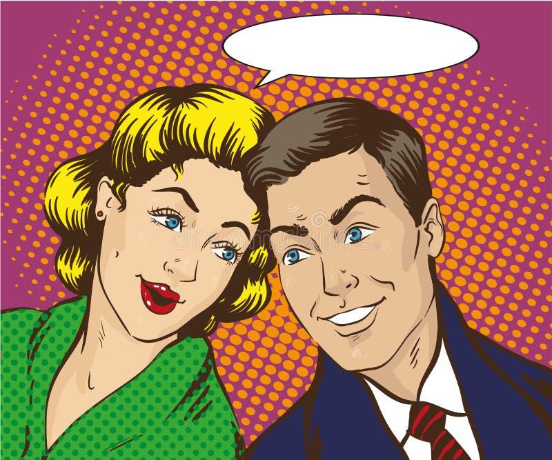 Ejemplo del vector en el estallido Art Style La mujer y el hombre hablan el uno al otro Cómico retro El chisme, se rumorea negoci ilustración del vector