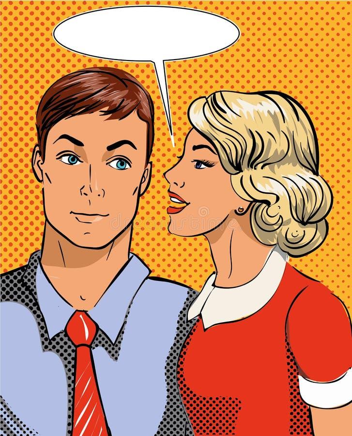 Ejemplo del vector en el estallido Art Style Mujer que dice secreto servir Cómico retro El chisme y se rumorea negociaciones ilustración del vector