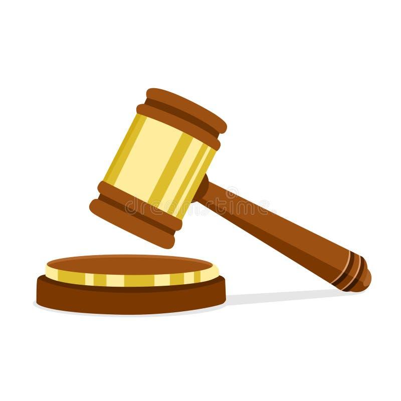 Ejemplo del vector en el martillo de madera del juez del diseño plano del presidente para el juicio de frases y de cuentas Ley y  stock de ilustración