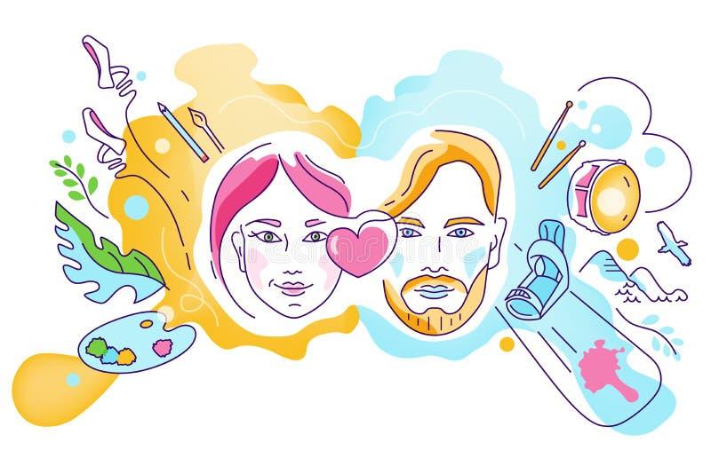 Ejemplo del vector en el tema de los diversos intereses, aficiones, pasión de la gente ilustración del vector