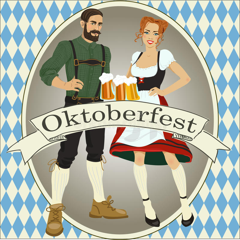 Ejemplo del vector en el tema de Oktoberfest stock de ilustración