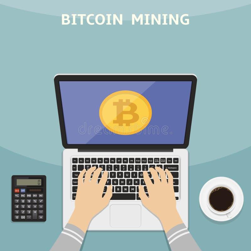 Ejemplo del vector en estilo plano Concepto de Bitcoin y del cryptocurrency Manos con el ordenador portátil y el dinero digital m libre illustration