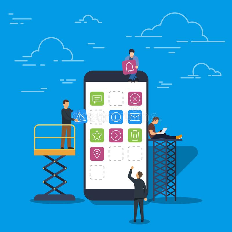 Ejemplo del vector en estilo plano de moda Concepto móvil del desarrollo del diseño y de la interfaz de usuario del app Concepto  stock de ilustración