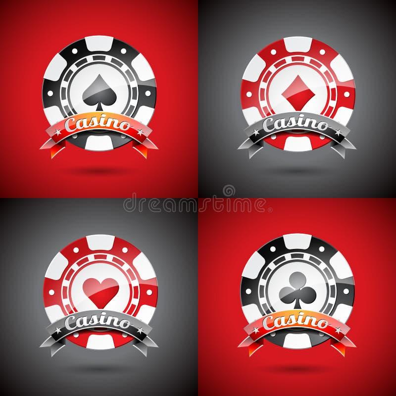 Ejemplo del vector en un tema del casino con jugar los microprocesadores fijados stock de ilustración
