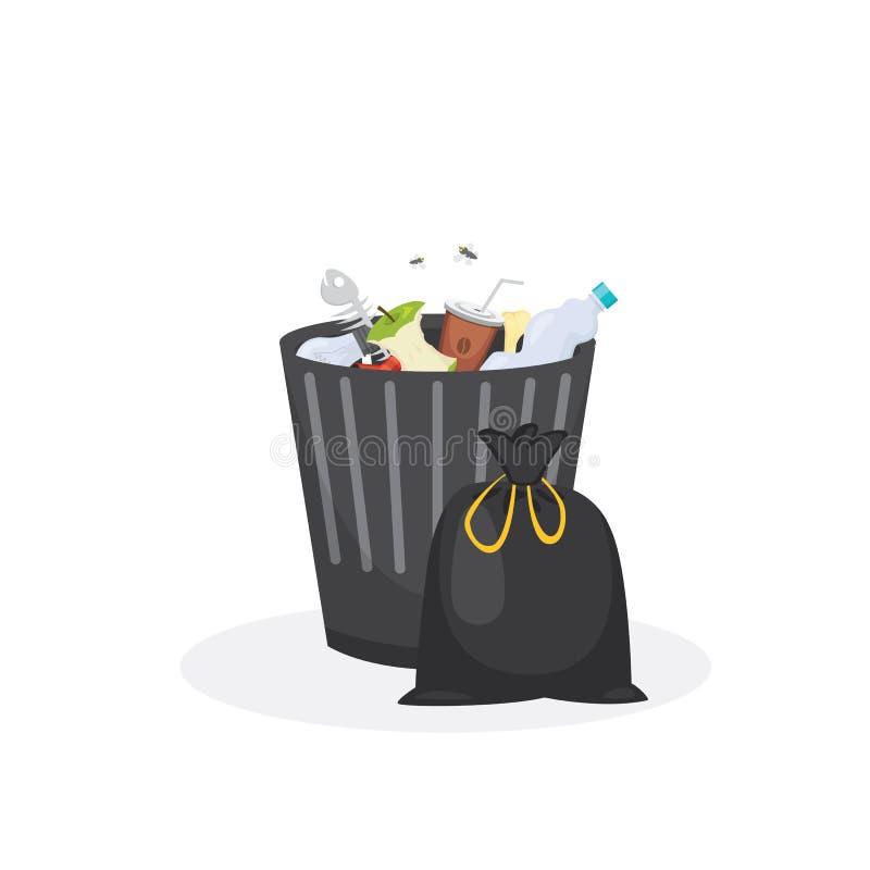 Ejemplo del vector del envase de la basura del cubo de la basura en estilo de la historieta stock de ilustración