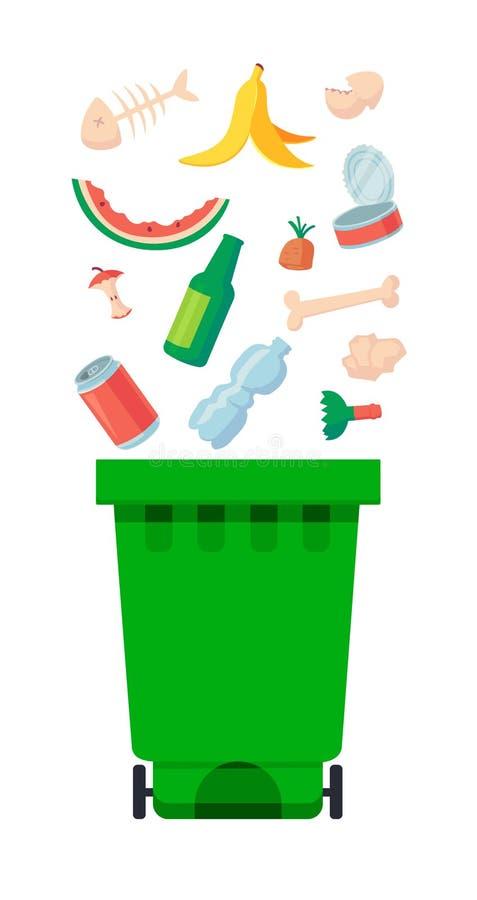 Ejemplo del vector: envases de la basura con basura sin clasificar Bolsos de los desperdicios y de basura que mienten alrededor d ilustración del vector