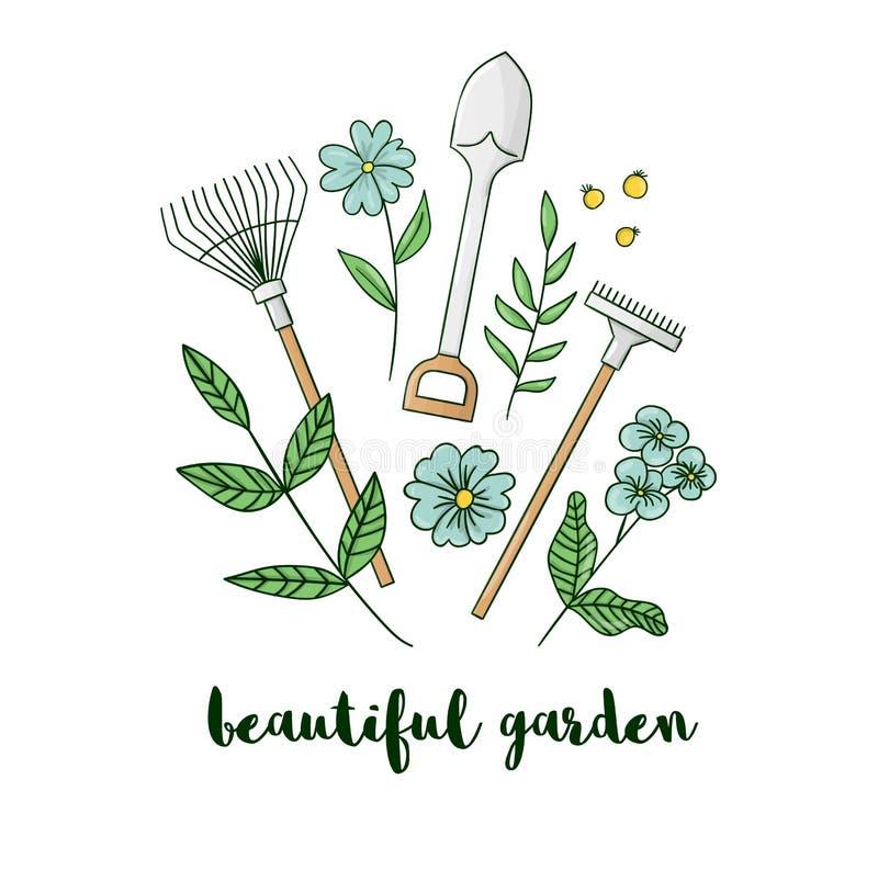 Ejemplo del vector del equipo de jardín colorido con las flores ilustración del vector