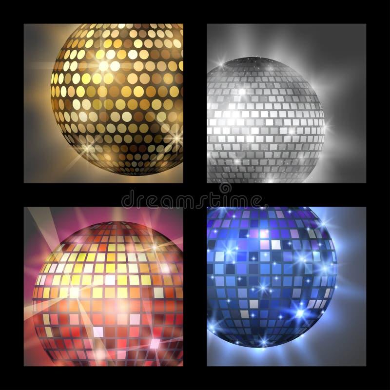 Ejemplo del vector del equipo de la danza del club de noche del partido de la música de la tarjeta de la discoteca de la bola de  stock de ilustración