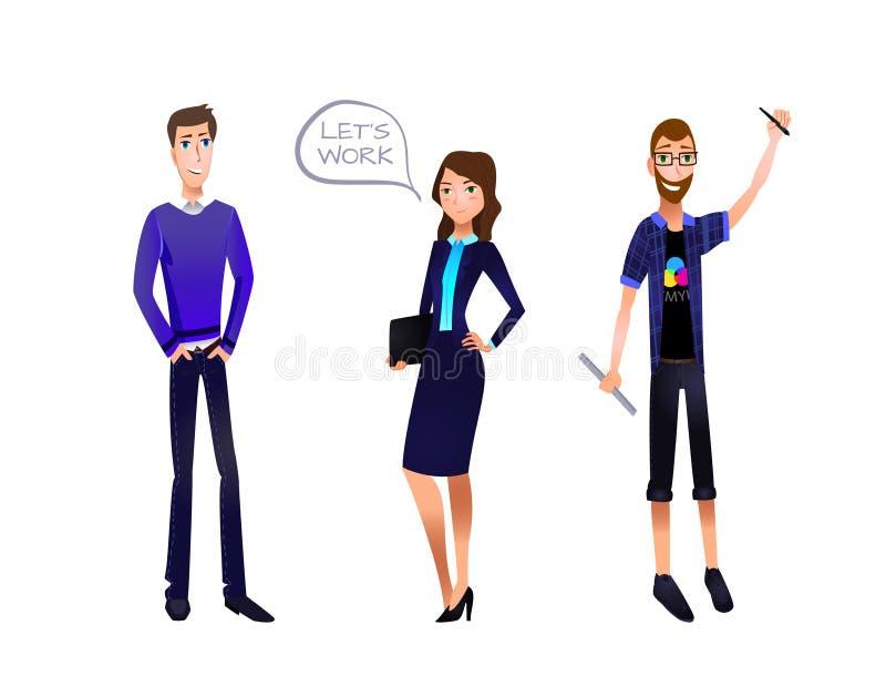 Ejemplo del VECTOR del equipo del negocio, caracteres fijados: Hombre de negocios, empresaria, diseñador ilustración del vector