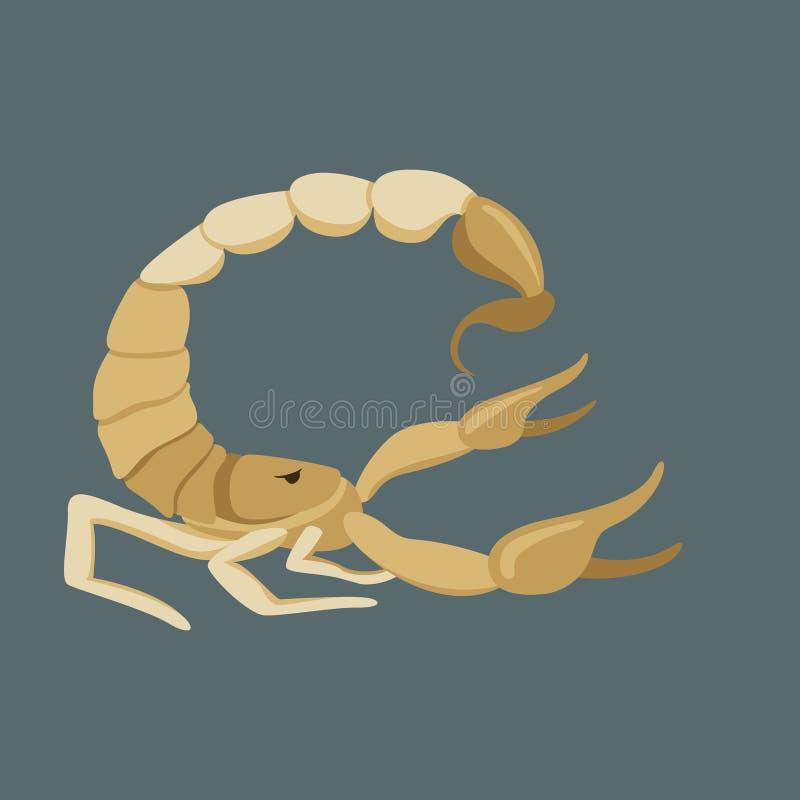 Ejemplo del vector del escorpión, estilo plano, perfil stock de ilustración