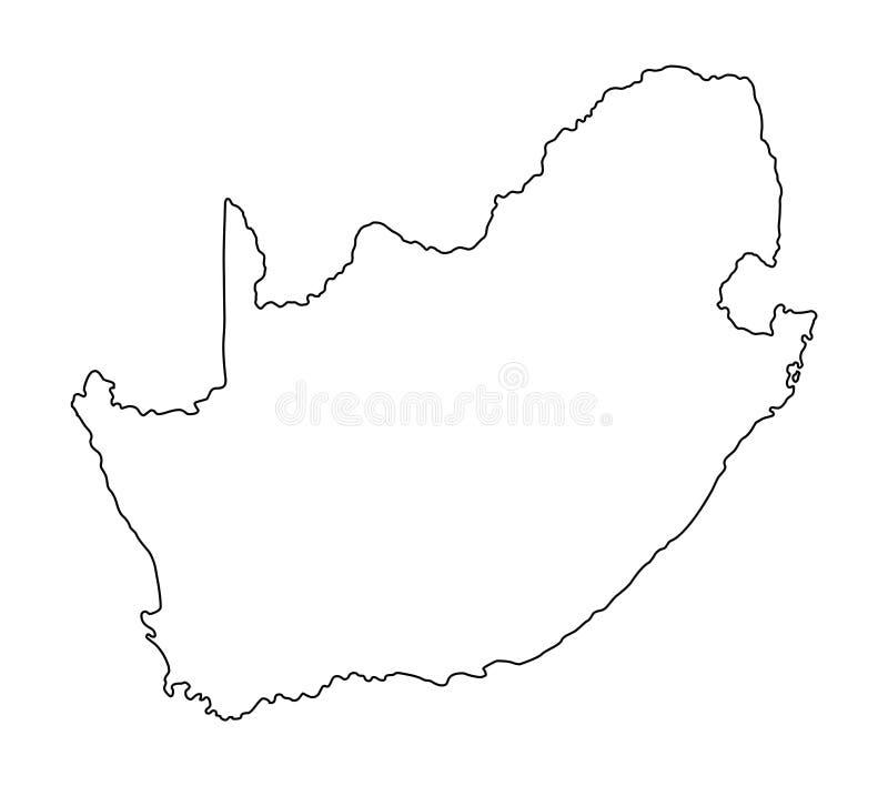 Ejemplo del vector del esquema del mapa de Suráfrica ilustración del vector
