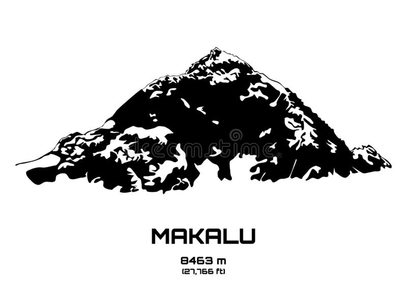 Ejemplo del vector del esquema del Mt Makalu stock de ilustración