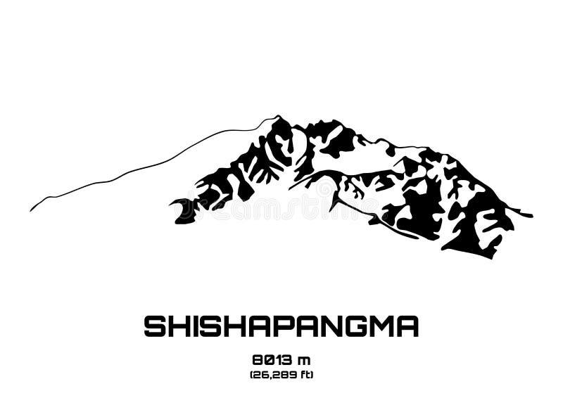 Ejemplo del vector del esquema del Mt Shishapangma ilustración del vector