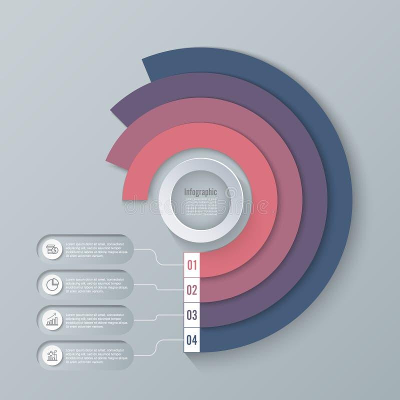 Ejemplo del vector del estilo de la papiroflexia del círculo de Infographics del negocio puede ser utilizado para la disposición  ilustración del vector