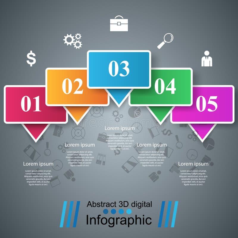 Ejemplo del vector del estilo de la papiroflexia de Infographics del negocio stock de ilustración