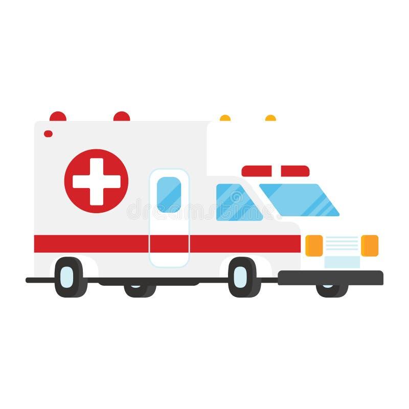 Ejemplo del vector del estilo del plano de servicio de transporte de la emergencia del coche de la ambulancia aislado en el fondo stock de ilustración