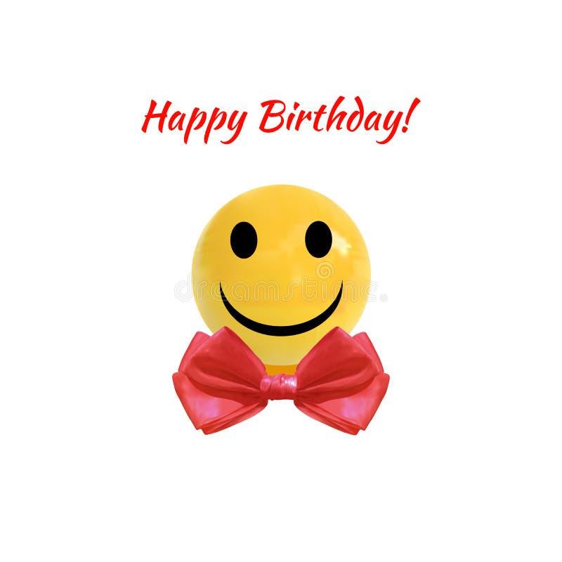 Ejemplo del VECTOR del feliz cumpleaños, bola de Smiley Face On Realistic Yellow con la corbata de lazo roja, icono ilustración del vector