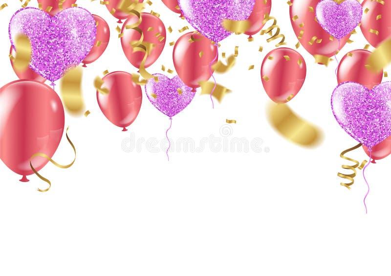 Ejemplo del vector del feliz cumpleaños - confeti de oro de la hoja y co ilustración del vector