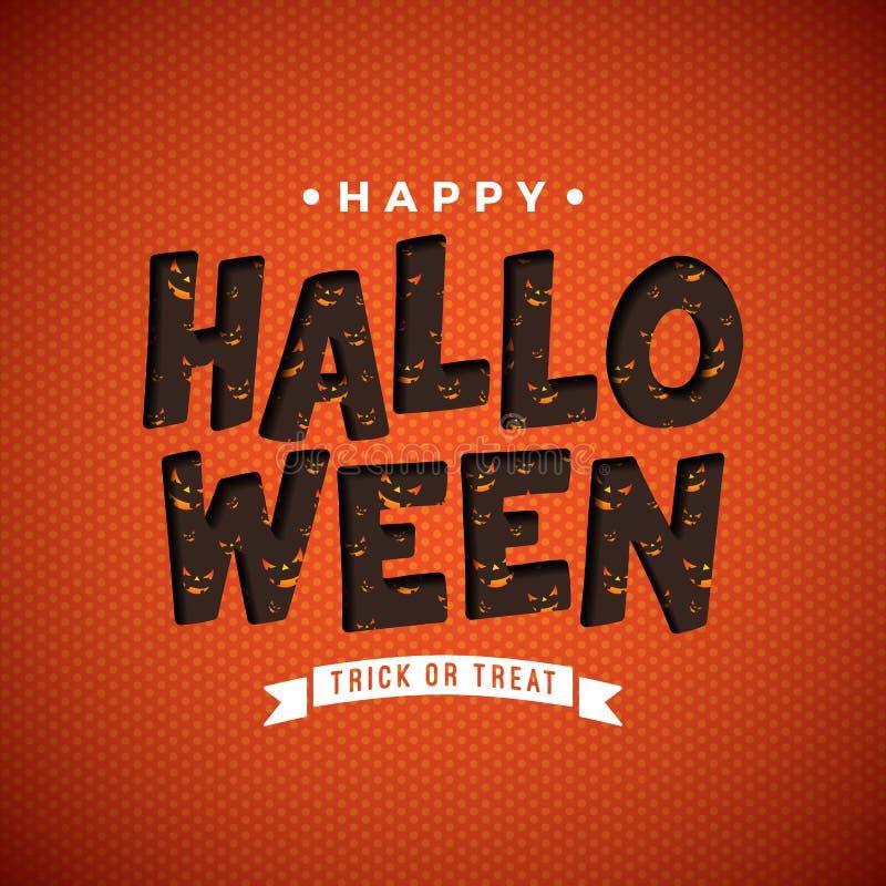 Ejemplo del vector del feliz Halloween con el modelo asustadizo de la cara en letras de la tipografía en fondo anaranjado Diseño  libre illustration