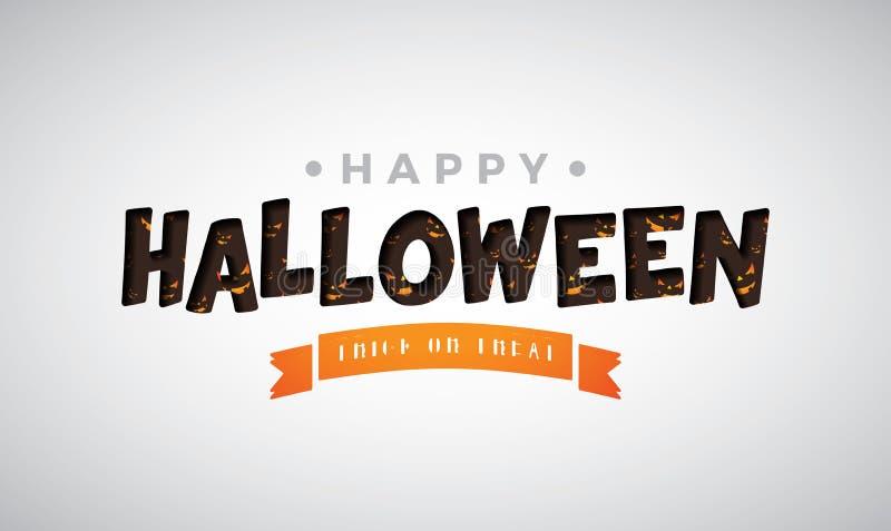 Ejemplo del vector del feliz Halloween con las letras de la tipografía en el fondo blanco Diseño del día de fiesta para la tarjet libre illustration