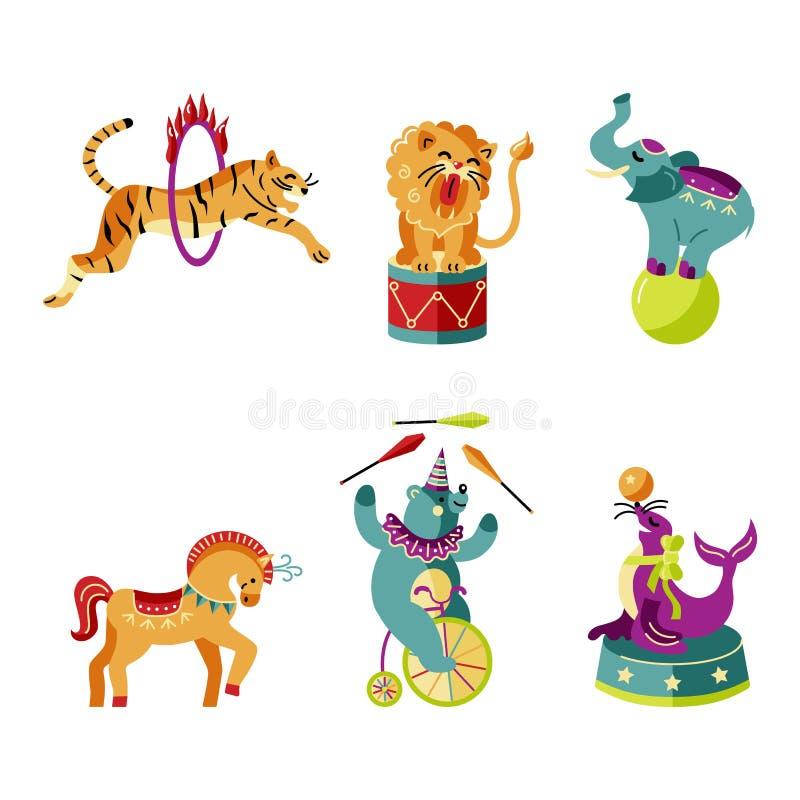 Ejemplo del vector fijado con los animales de circo ilustración del vector